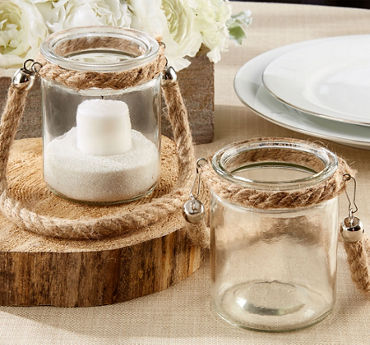 Rope Trim Glass Jar Tealight Candle Holder