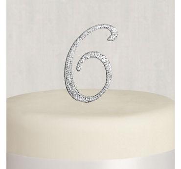 Rhinestone Silver Number 6 Cake Topper