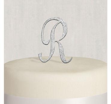 Rhinestone Silver Monogram R Cake Topper