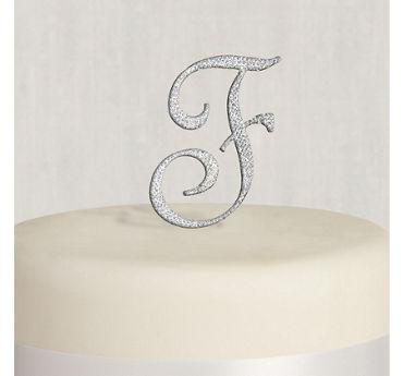 Rhinestone Silver Monogram F Cake Topper