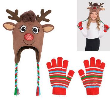 Child Rudolph Reindeer Peruvian Hat & Gloves