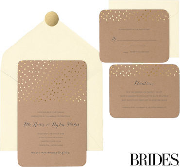 Kraft Metallic Gold Dot Printable Wedding Invitations Kit 30ct