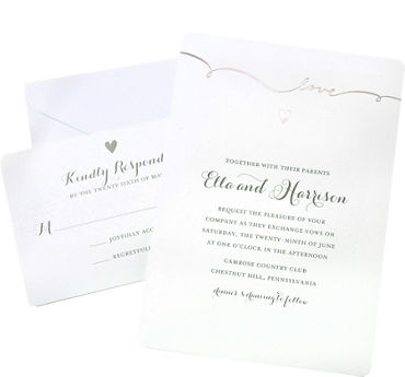 Metallic Silver Love Printable Wedding Invitations Kit 50ct