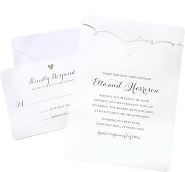 Metallic Silver Love Printable Wedding Invitations Kit 50ct