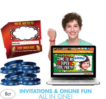 Comic Invite Bandz Party Invitation Wristbands for 8