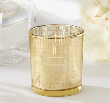 Gold Modern Grid Tealight Candle Holders