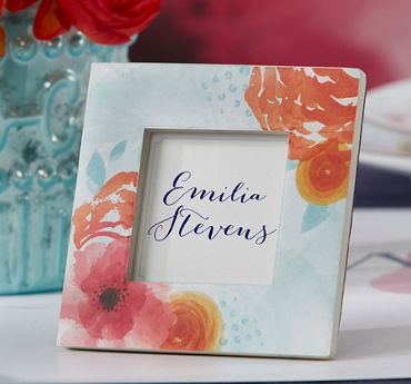 Watercolor Floral Photo Frame Place Card Holder