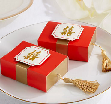 Red & Gold Chinese Double Happiness Drawer Favor Boxes