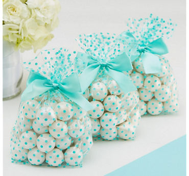 Robin's Egg Blue Polka Dot Treat Bags with Bows 12ct