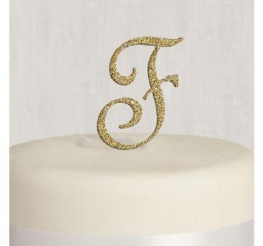 Rhinestone Gold Monogram F Cake Topper