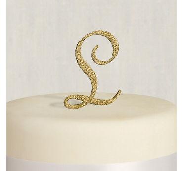 Rhinestone Gold Monogram L Cake Topper