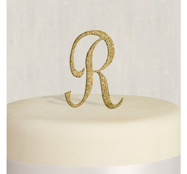 Rhinestone Gold Monogram R Cake Topper
