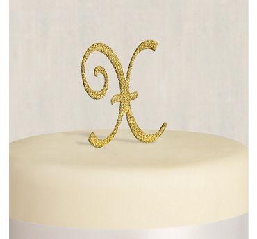 Rhinestone Gold Monogram X Cake Topper