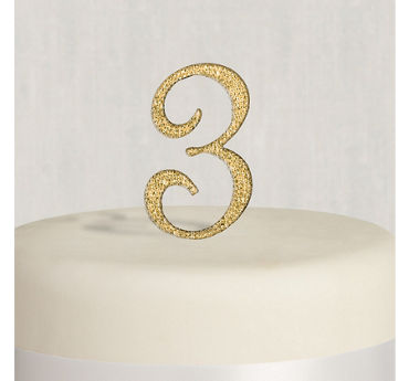 Rhinestone Gold Number 3 Cake Topper