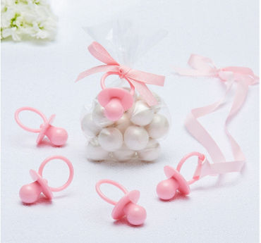 Pink Pacifier Baby Shower Favor Charms 8ct