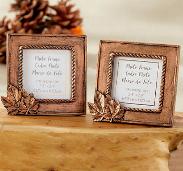 Gold Leaves Photo Frame Place Card Holder