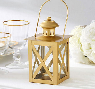 Gold Lantern Tealight Candle Holder