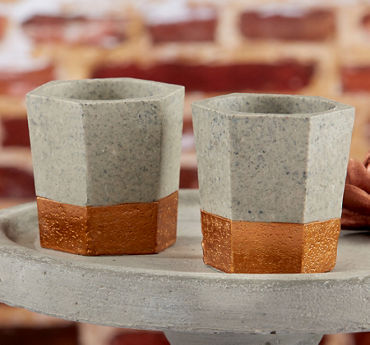 Copper & Concrete Geometric Tealight Candle Holders