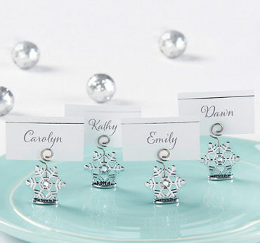 Silver Snowflake Place Card Holders
