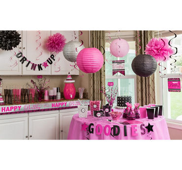 Black & Pink Birthday Party Supplies