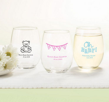 Generic Baby Personalized Baby Shower Stemless Wine Glasses 15oz (Printed Glass)