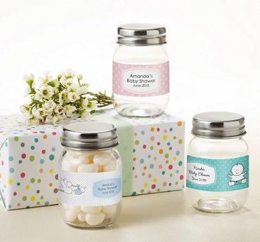 Generic Baby Personalized Baby Shower Mini Glass Mason Jars (Printed Label)