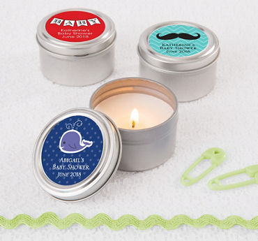 Generic Baby Personalized Baby Shower Candle Tins (Printed Label)