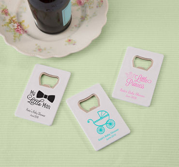 Generic Baby Personalized Baby Shower Credit Card Bottle Openers - White (Printed Plastic)