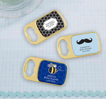 Baby Boy Personalized Baby Shower Bottle Openers - Gold (Printed Epoxy Label)