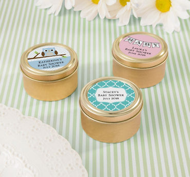 Gender Neutral Personalized Baby Shower Round Candy Tins - Gold (Printed Label)