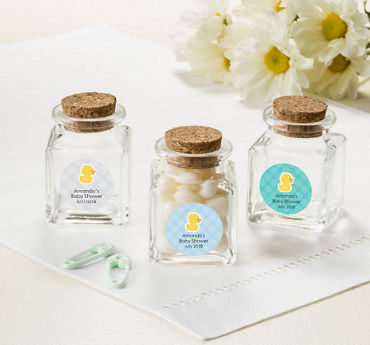 Gender Neutral Personalized Baby Shower Small Glass Bottles with Corks (Printed Label)