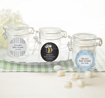Gender Neutral Personalized Baby Shower Small Glass Jars (Printed Label)