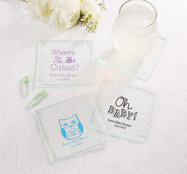 Gender Neutral Personalized Baby Shower Glass Coasters (Printed Glass)