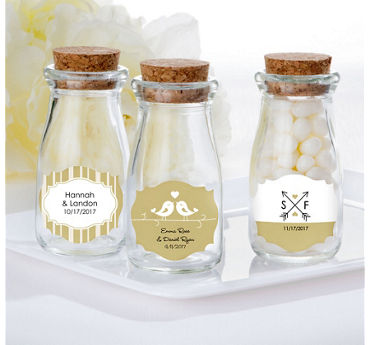 Personalized Glass Milk Bottles with Corks (Printed Label)