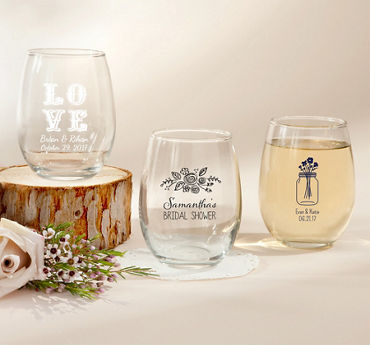 Personalized Stemless Wine Glasses 9oz (Printed Glass)