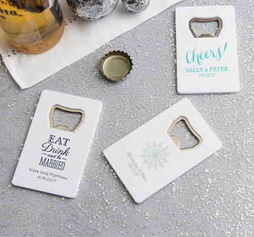 Personalized Credit Card Bottle Openers - White (Printed Plastic)