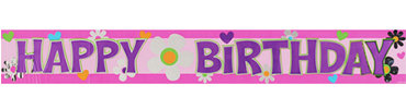 Floral Happy Birthday Metallic Banner 12ft