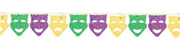 Mardi Gras Mask String Garland 9ft