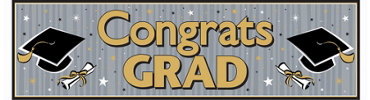 Black & Gold Graduation Banner 65in
