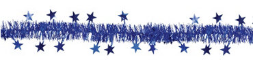 Royal Blue Star Tinsel Garland