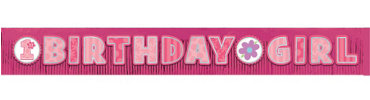 Glitter Fringe Girl 1st Birthday Banner 9ft x 11 1/4in