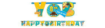 Add An Age Phineas and Ferb Birthday Banner 10ft