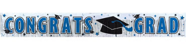 Blue Foil Fringe Graduation Banner 65in