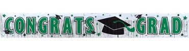 Green Foil Fringe Graduation Banner 65in