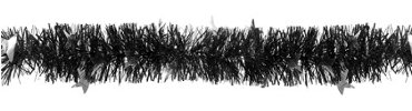 Black & Silver Star Boa Tinsel Garland