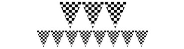 Black and White Checkered Flag Pennant Banner 12ft