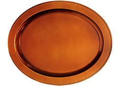Elegant Fall Orange Oval Plastic Platter