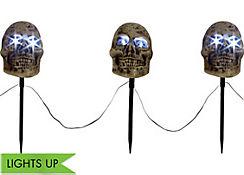Light-Up Skull Garden Stakes 3ct