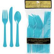 Caribbean Blue Premium Plastic Cutlery Set 24ct