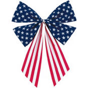 Fabric Flag Bow 17 1/2in